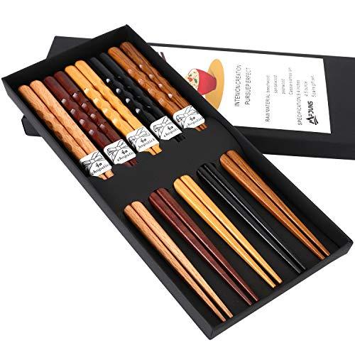 MFJUNS 5-Pairs Set of Chopsticks, Wood Chopsticks