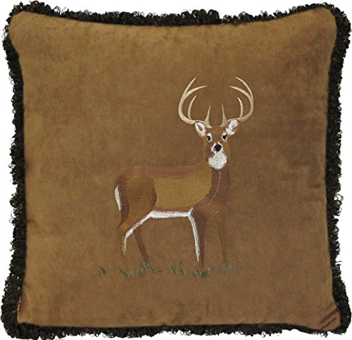 Faux Suede Fringed Decorative Deer Pillow