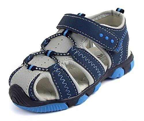 Eagsouni® Jungen Geschlossene Sandalen Rutschfest PU Leder Outdoor Trekkingsandalen Lauflernschuhe Halbsandalen Klettverschluss Blau