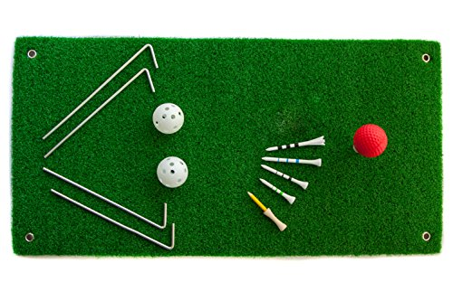 Golf Chipping Driving Hitting Green Mat Set – 3 Rubber Tees, 1 Foam and 2 Practice Balls, 4 Pegs – Aras.Golf