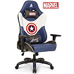 Licensed Marvel Premium Gaming Racing Chair Executive Office Desk Task Computer Home Chair : High Back Recliner w/ Ergonomic Head Rest Lumbar Support, Neo Chair (Captain America, Blue)