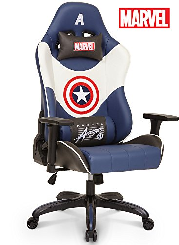 Licensed Marvel Premium Gaming Racing Chair Executive Office Desk Task Computer Home Chair : High Back Recliner w/ Ergonomic Head Rest Lumbar Support, Neo Chair (Captain America, Blue) (Captains Chair Guest)