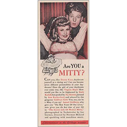 RelicPaper 1947 The Secret Life of Walter Mitty: Promo, Danny Kaye, Goldwyn Print Ad