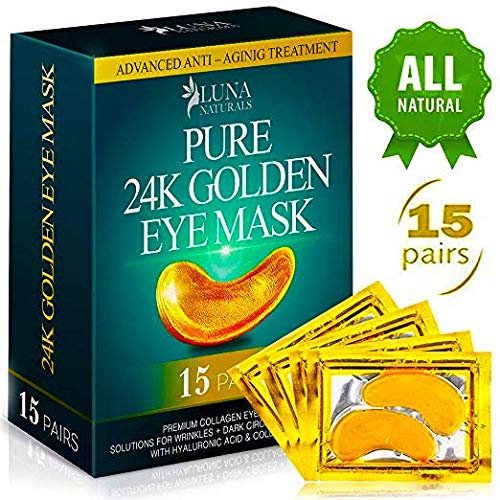 Natural Under Eye Patches - 24K Gold Eye Mask Anti-Aging Hyaluronic Acid - Under Eye Mask for Reducing Dark Circles & Puffy Eyes (15 PAIRS) - Under Eye Bags Treatment ()
