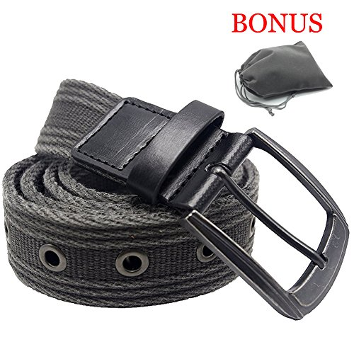 Men's Military Water-Washed Canvas Waist Web Belt Leather Tipped End and Silver Metal Buckle (2X-Large(46-48), Black)