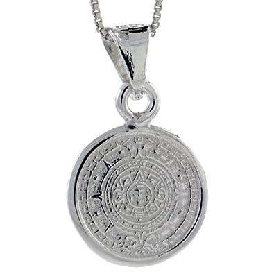 Sterling silver aztec calendar pendant 20 mm amazon jewellery sterling silver aztec calendar pendant 20 mm aloadofball Images