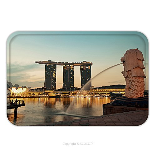 Flannel Microfiber Non-slip Rubber Backing Soft Absorbent Doormat Mat Rug Carpet Singapore February, 18 The Merlion Fountain And Marina Bay With Sunrise Morning Feb 18, 2014.Merlion Is A Mythical Cr