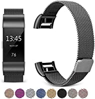 For Fitbit Charge 2 Bands, Hotodeal Bracelet Milanese Loop Stainless Steel Metal Accessories Replacement Strap with Unique Magnet Lock, No Buckle Need for Fitbit Charge 2 Fitness Tracker Men Women Small Large
