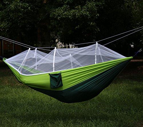 Hängematte Fliegengitter für Camping Reise Ultraleicht–ecombos Doppel-Hängematte aus Stoff 200kg Belastung, (260x 130cm) Fallschirm für Reise im Freien Innen Hiking Garten Wandern Green & Fluorescent green