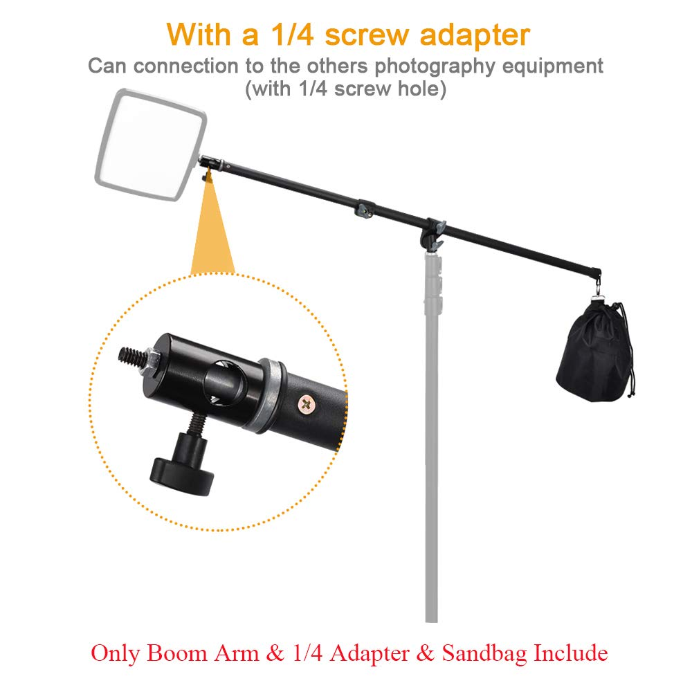 UTEBIT Professional Boom Arm Adjustable 80-140cm Reflector Holder Arms 4.6ft Frosted Overhead Camera Holding Light Stand with Sandbags 360 Swivel Head for Photo Video Studio (Light Stand Not Include) by UTEBIT (Image #3)