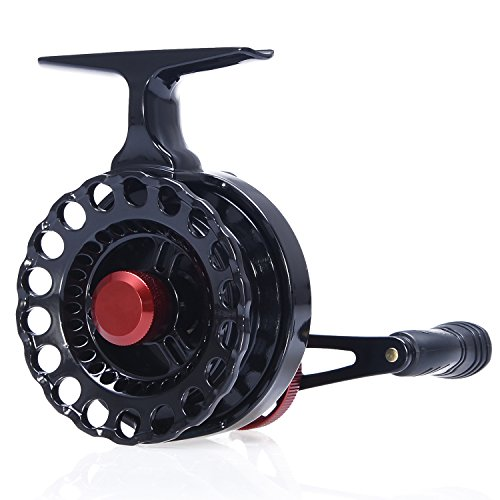 Berrypro Inline Ice Fishing Reel Right Handed Fishing Raft Wheel Ice Reels with 4+1BB Ball Bearings (Black(graphite spool))