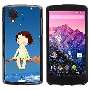 Qstar Arte & diseño plástico duro Fundas Cover Cubre Hard Case Cover para LG Google NEXUS 5 / E980 /D820 / D821 ( Dream Tree Branch Stars Sky Girl Happiness Art)