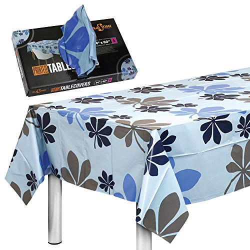 Disposable Plastic Tablecloths Fully Printed - Size 54 X 60 Inches - 24 Table Covers - for a 4 Foot Rectangle Picnic Party Table
