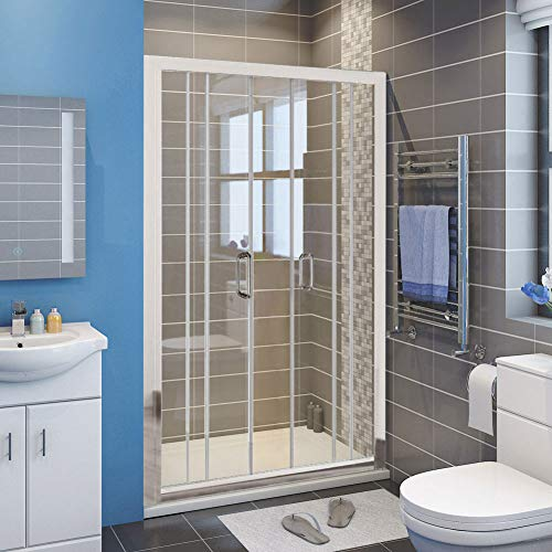 Buy ELEGANT 58.5- 60 W x 72 H Double Sliding Glass Shower Doors, Semi-Frameless 2 Sliding Panels ...