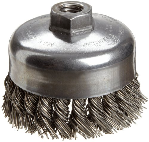 "Weiler Wire Cup Brush, Threaded Hole, Steel, Partial Twist Knotted, Single Row, 4"" Diameter, 0.035"" Wire Diameter, 5/8""-11 Arbor, 1-1/4"" Bristle Length, 9000 rpm (Pack of 1)"