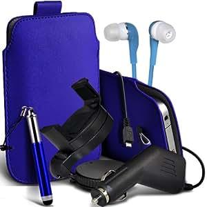 Nokia Lumia 810 premium protección PU ficha de extracción Slip In Pouch Pocket Cordón piel con lápiz óptico retráctil, Jack de 3,5 mm auriculares auriculares auriculares, cargador de coche USB Micro 12v y 360 Sostenedor giratorio del parabrisas del coche cuna azul por Spyrox