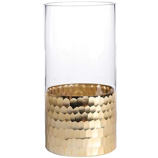 Taoshi CBEC - Jarrón de Cristal para Cilindro Chapado en Oro ...