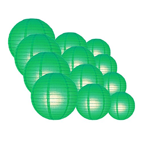 Quasimoon-EVP-DGN-CP12-12pcs-Pack-12108-Inch-Paper-Lanterns-Even-Ribbing-Emerald-Green-12-Piece-Set