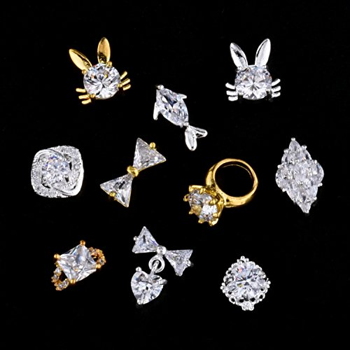 10pcs Luxury Glitter Crystal Silver Zircon 3D Nail Art Jewelry Ring Square Gem Rhombus dolphin Rabbit Design Assorted
