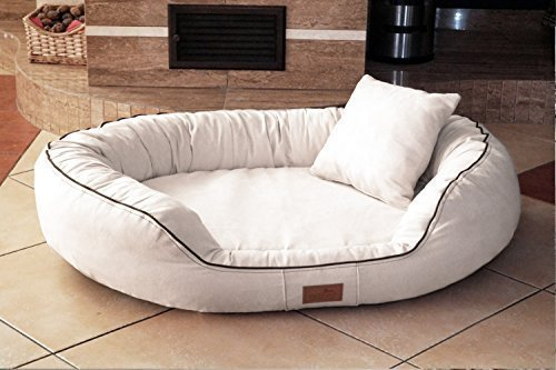 TIERLANDO® Ultimate Marlon Orthopedic Dog Bed with Visco plus Mattress in Velour  Soft Lounge  Size M L XXL XXXL   85 cm to 220 CM Cream, 55.11 x39.4 x11.8  Inside (W x D)  41.33 x29.52