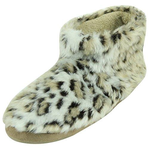 Voor Dames Zachte Fleece Winter Warm Indoor Huis Mode Laarzen Pantoffels Beige Luipaard