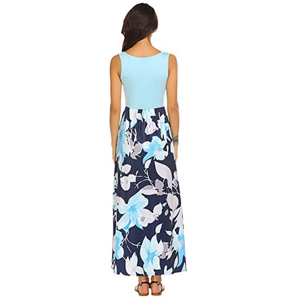 9cc7d0d3599 AMOFINY Women s Tops Dresses Summer Boho Sleeveless Floral Print Tank  Sundrss Beach Long Maxi Dress at Amazon Women s Clothing store