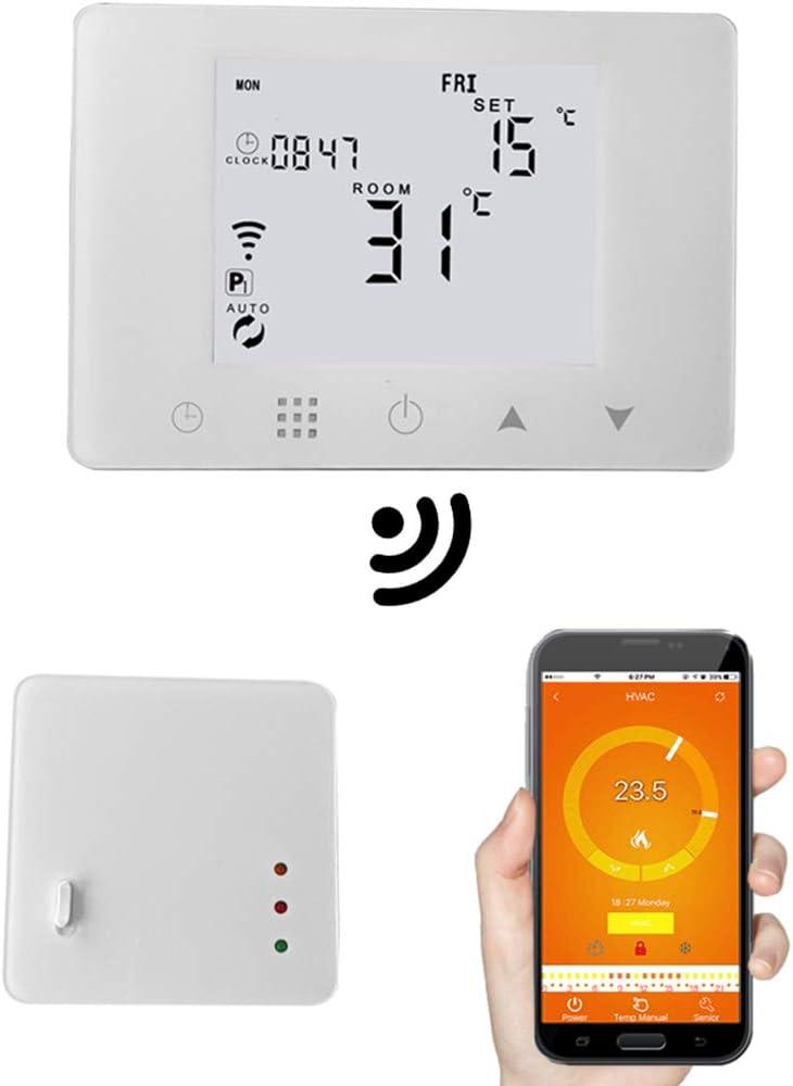 WiFi & RF - Termostato inalámbrico para habitación, calentador de gas, calefacción, mando a distancia, consola de temperatura, programable semanalmente (USB compatible,sin batería compatible)