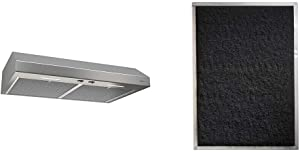 "Broan-NuTone BCSEK130SS Glacier Energy Star Certified Range Hood with Light Exhaust Fan, 250 CFM, 30-Inch, Stainless Steel & Non-Duct Charcoal Filter for 30"" Evolution QP Series Range Hood"
