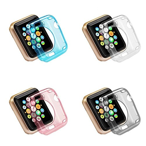 Apple iWatch 42mm 4 Pack Bumper Clear, Pink, Gray/Smoke, Blue Skin Hybrid Sleeve Protective Case Shockproof Slim Ultra Thin Rugged Flexible Series 1 & 2 Lightweight Colored [Transparent Tpu Gel]
