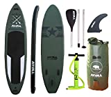Atoll 11'0' Foot Inflatable Stand up Paddle Board, (6 Inches Thick) Isup, Bravo Hand Pump and 3 Piece Paddle, Travel Backpack