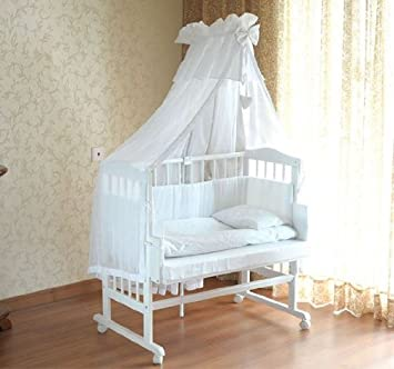 baby crib bed baby cot bed mattress 2 in 1 in white amazon co uk