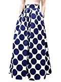 CHOiES record your inspired fashion Women's White Contrast Polka Dot Print Maxi Skirt (14, White)