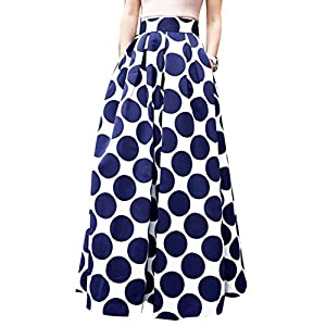 CHOiES record your inspired fashion Women's White Contrast Polka Dot Print Maxi Skirt