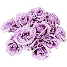 Tinksky 20pcs Artificial Curving Brim Rose Flower Craft Home Wedding Christmas Party Decoration (Light Purple)