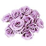 Tinksky-20pcs-Artificial-Curving-Brim-Rose-Flower-Craft-Home-Wedding-Christmas-Party-Decoration-Light-Purple