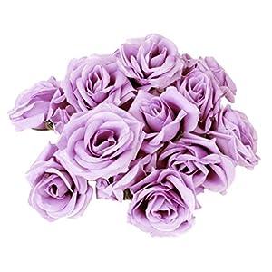 Tinksky 20pcs Artificial Curving Brim Rose Flower Craft Home Wedding Christmas Party Decoration (Light Purple) 38