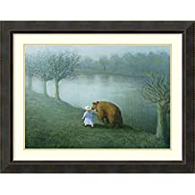 Framed Art Print 'Girl with Bear' by Michael Sowa