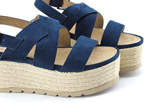 Modelisa - Sandalia Plataforma Alpargata Cruzada Mujer Azul marino