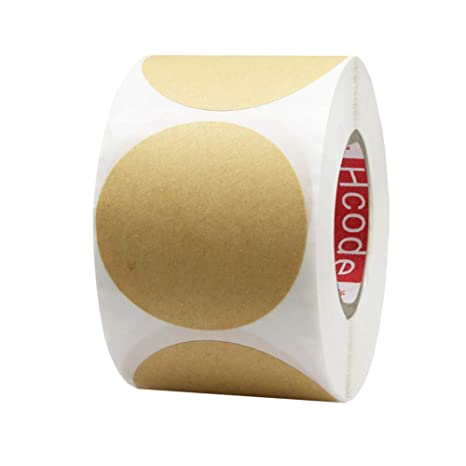 Hcode 2 Natural Circle Kraft Paper Dots Labels Round Brown Adhesive Stickers Writable And Printable Thermal Transfer Labels 500 Pieces Per Roll 2