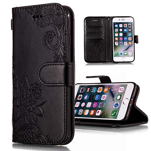 Shinyzone Wallet Case for iPhone XR 6.1 inch,Embossed Henna Mandala Pattern Series,[Magnetic Closure] Premium Leather Folio Flip Cover with ID Credit Card Slots-Black