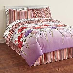 Amazon.com: Pink, Purple & Orange Flowers Queen Comforter ...