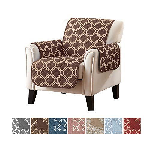 Other Living Room Furniture - Home Fashion Designs Adalyn Collection Deluxe Reversible Quilted Furniture Protector. Beautiful Print on One Side/Solid Color on The Other for Two Fresh Looks Brand. (Chair, Chocolate)