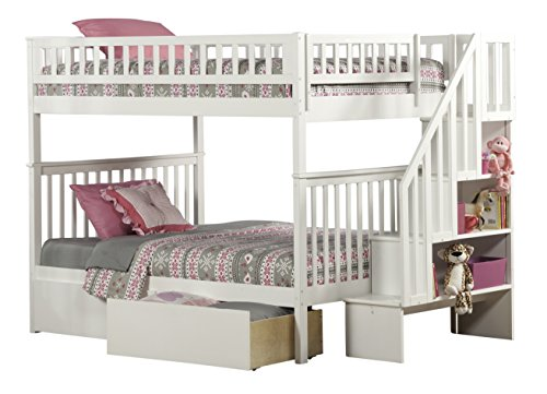 Woodland Staircase Bunk Bed with Urban Bed Drawers, White, F