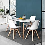 Modern Dark Wood Coffee Table EGGREE Kitchen Dining Table for 4 Person Modern Wood Coffee Table Tea Table with MDF Top Wood Legs Dining Room Kitchen Living Room Tables,White
