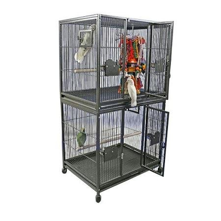 Large Double Stack Bird Cage Color: Black