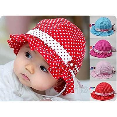 6d1c255ec47 ... sweden amazon vanker 1pcs red sun polka dot cotton hat cap for 3 24  months infant