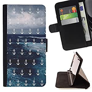 - Anchor Boat Pattern - - Style PU Leather Case Wallet Flip Stand Flap Closure Cover FOR Sony Xperia Z2 D6502 - Devil Case -