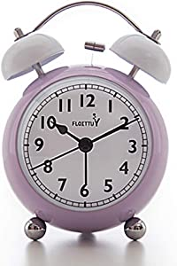FLOITTUY {Loud Alarm Clock for Deep Sleepers} 3.5'' Twin Bell Alarm Clock with Backlight for Bedroom,No-Ticking,Cute(Purple)