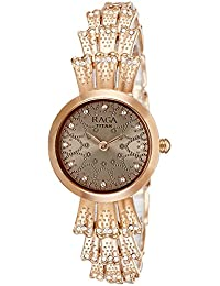 Titan Women's 'Raga Aurora' Quartz Stainless Steel and Brass Casual Watch, Color:Rose Gold-Toned (Model: 95044WM01)