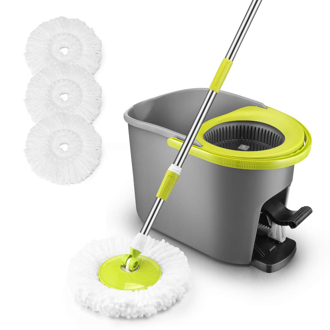 360 Spin Mop and Bucket System with Wringer Set, Floor Cleaning Mop for Tile/Hardwood/Laminate with 3 Deep-Cleaning Microfiber Mop Head Replacements and 1pc Durable Mop Holder by TUOBA